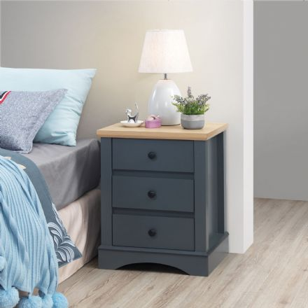 Carden Grey Nightstand with 3 Drawers